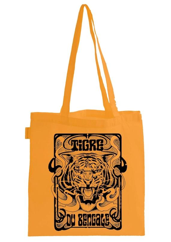 "Tote Bag. ""TIGRE OF BENGALE"" Orange.  Artwork Sadhu The Serbian- Limited"