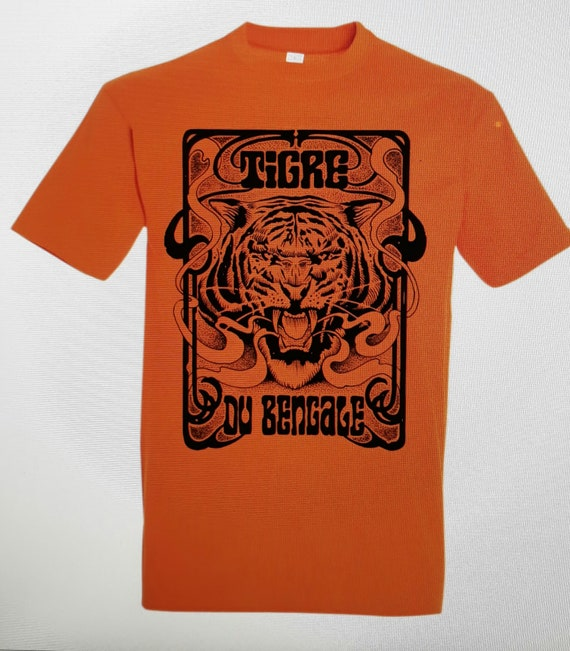 T Shirt Men 'Tiger of Bengal' Artwork Sadhu the Serbian- Limited- Orange