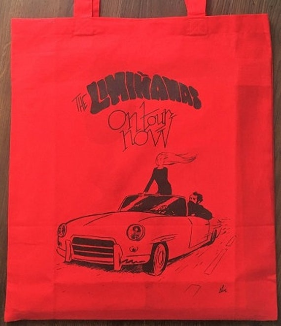 "Mr. Tote Bag. ""Liminanas on tour"" Red.  Artwork Elric Dufau"