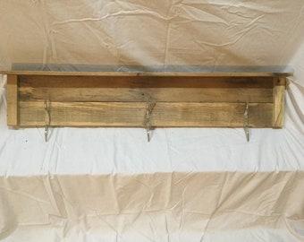 Reclaimed red oak 3 dock cleat Coat/towel/hat rack