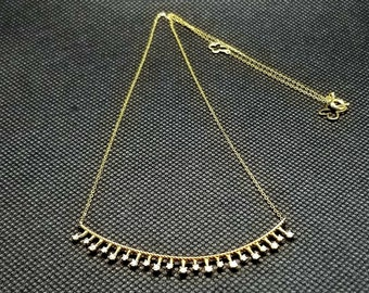 14K solid Yellow gold diamond necklace with 0.50 ct. SI1, G color natural brilliant diamonds.