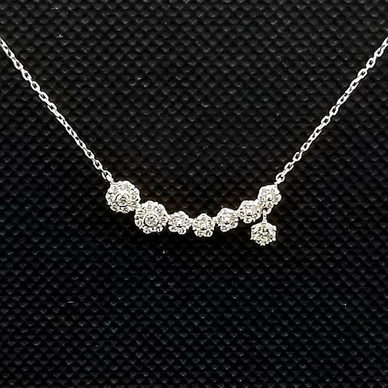 b4acc8dcdffec7 14k solid white gold floral diamond necklace with 0.75 ct. | Etsy