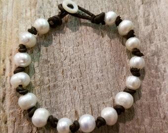 "Woodland Inspired ""Fleabane Country Pearls"" Bracelet, Rustic"