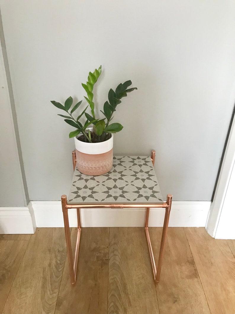Terrazzo Style Side Table Copper Pipe Ceramic Tile