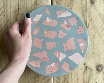 Grey and pink terrazzo tray