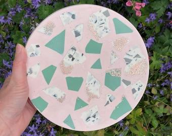 Pink and green terrazzo display platter