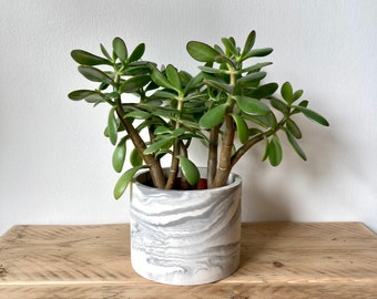 White marbled large plant pot