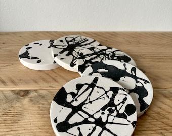 SECONDS- monochrome splatter coasters