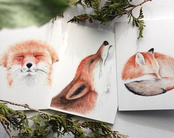 Set of 4 Sassy Note Cards with Animals