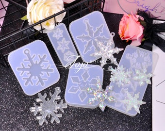Christmas Snowflake Pendant Resin Mold-Snowflake Earrings Casting Mold-Snowflake Necklace Jewelry Mold-Snow Keychain Mold-Epoxy Art Mold