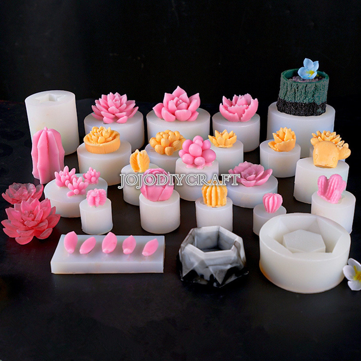 Succulents Molds Cactus Candle Shaped Soap Cake Sugar Silicone Mould 3D DIY
