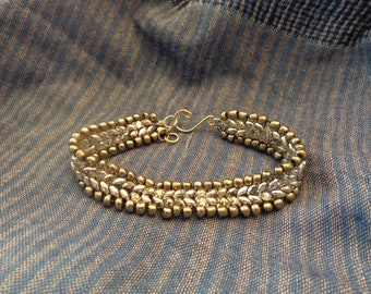 Bead woven bracelet.  Antique silver colored glass beads along with Labrador SuperDuo beads
