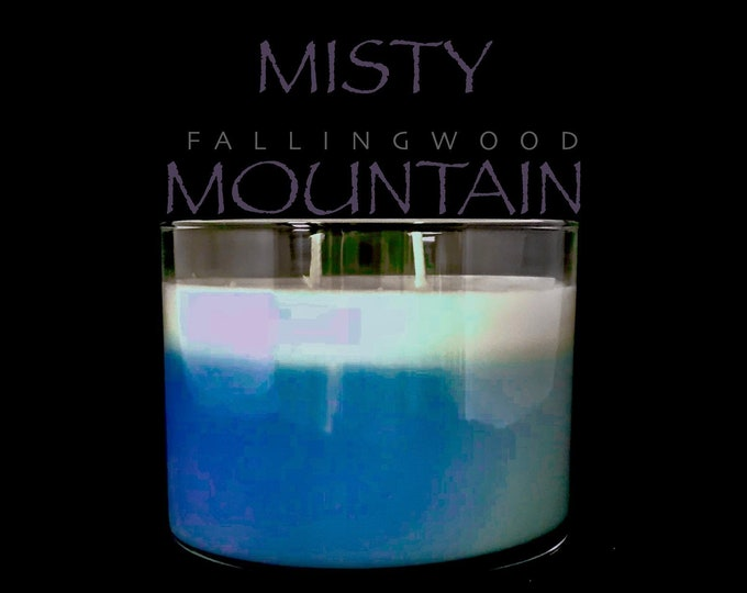 Soy Candle Misty Mountain Scente/Handmade/Handcrafted/11 oz 4 inch jar/By FallingwoodCandle