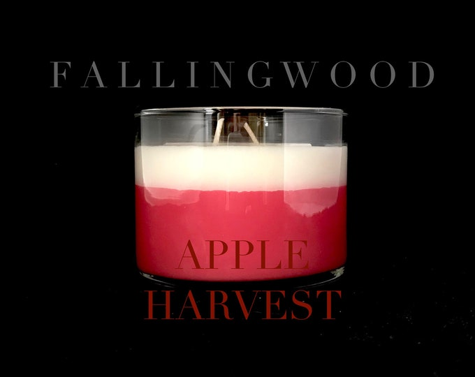 Soy Candle/Handmade/Handcrafted/Apple Harvest/11 oz 4 inch jar/By FallingwoodCandle