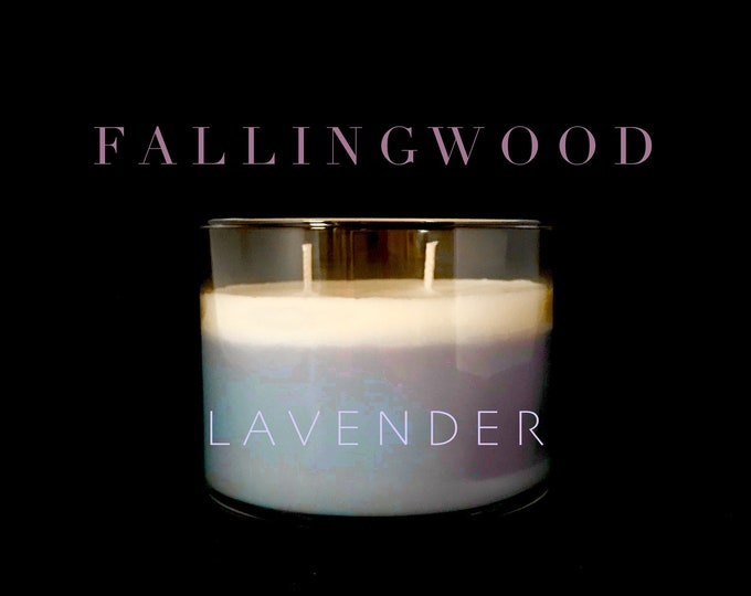 Lavender Scent 4 Inch Soy Jar Candle/Handmade/By Fallingwood Candle/Double Cotton Wick