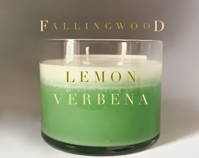 Lemon Verbena 4 inch Soy Jar Candle/Created By Fallingwood Candle/Hand Made/Double Cotton Wick