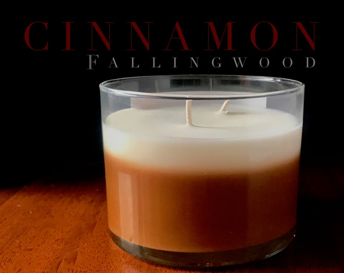 Hand Made Soy Candle Cinnamon Scented/Handmade/Handcrafted/4 inch glass jar/By Fallingwood Candle/Double Cotton Wick