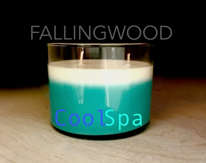Soy Candle/Handmade/Handcrafted/Cool Spa/11 oz 4 inch jar/By FallingwoodCandle