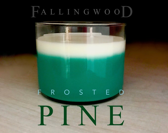 Soy Candle Frosted Pine Scented/Handmade/Handcrafted/11 oz 4 inch jar/By FallingwoodCandle