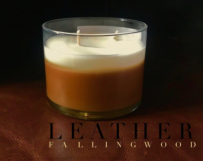 Hand Made Soy Wax Candle Leather Scent/4 inch 12 oz Jar Candle/Scented/brown and white/Fallingwood Candle