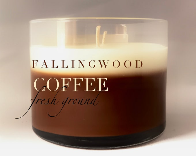 Hand Made Soy Wax Candle Coffee Fresh Ground Scent/4 inch 12 oz Jar Candle/Scented/brown and white/Fallingwood Candle
