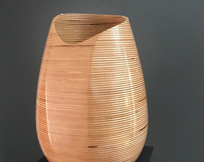 Turned Wood Hand Carved Solid Baltic Birch Laminate Candle Holder Vase