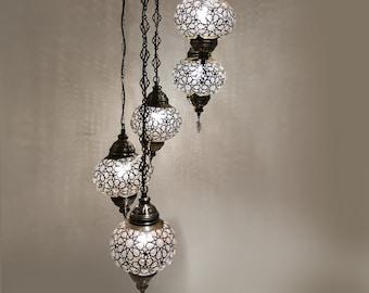 Amazing Blowing Glass Turkish 5 big globe chandelier, Turkish Lamp, Morrocan decor Hanging, Bohemian Chandelier, Home Decor Turkish Lights