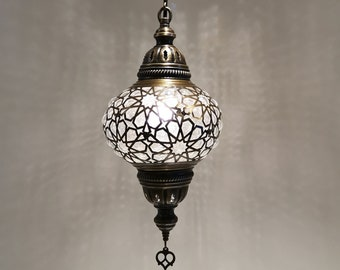 """Turkish Lamp Pendant Laser Blowing Glass Option 7"""" Dia Hanging Light Fixture Lighting Silver and Brass Metal finished"""