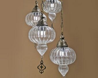 Turkish Chandelier Lamp 4 Piece Amazing Pyrex Blowing Glass Lighting Morrocan Decor Hanging Light FREE SHIP