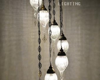Handmade turkish Crack glass 7  stunning chandelier, morrocan decor, turkish mosaic lamp, bohemian lamp, lighting, ottoman lamp, lighting