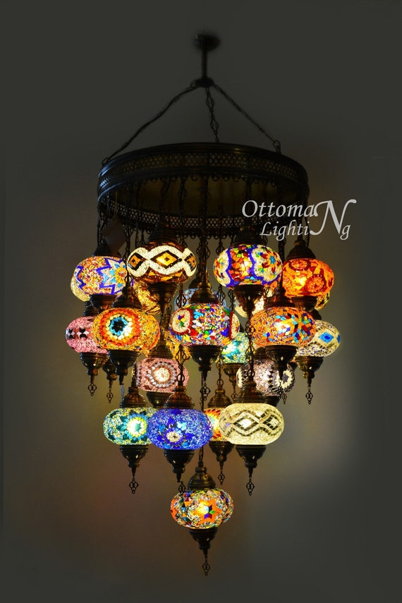 Extra Large Handmade Turkish 25 Globe, Turkish Mosaic Chandelier India