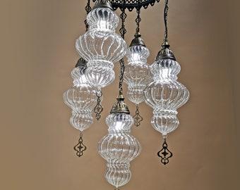 Turkish Chandelier Lamp 5 Piece Amazing Big Blowing Glass FREE SHIP Morrocan Decor Hanging Lighitng