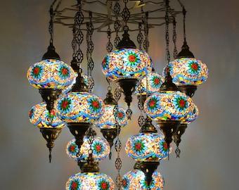 Laser Mosaic Handmade turkish 15 globe stunning chandelier, morrocan decor, turkish mosaic lamps, bohemian lamps, lighting, ottoman lamps,