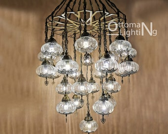 Turkish 25 Pyrex Blowing Amazing Glass Globe Chandelier Lamp FREE SHIP Morrocan Pendant Entryway Lighting with Laser Brass Metal Fixture