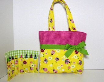 Yellow Lady Bug Purse with Green Ribbon, Barbie Tote, Bible Tote, Ipod Case, Christmas Gift, Handmade Little Girls Purse