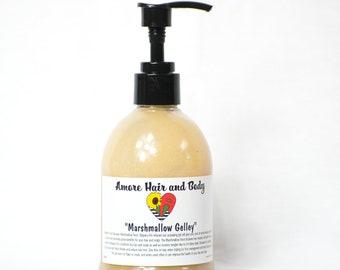 Marshmallow Gelley- Marshmallow Root, Flaxseed, Slippery Elm, Jojoba and Sweet almond oils, Vitamin e, Essential oils, Aloe Vera,