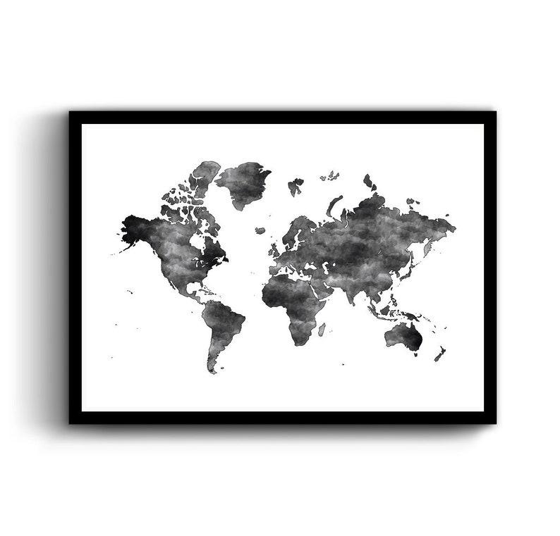 World Map Poster Print Printable Map Black And White World Etsy