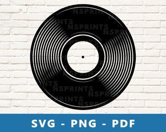 Vinyl Record SVG, Vinyl Record PNG, Long Play Clipart, Vintage Record Cut File, Music Stencil, Music Cricut Silhouette File, Print At Home