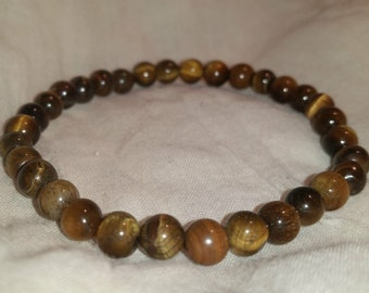6mm Tigers Eye Beaded Bracelet FREE SHIPPING