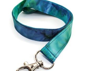 Fabric badge holder Tie dye lanyard Fabric lanyard Blue turquoise badge holder Turquoise tie dye badge holder TURQUOISE Fabric lanyard