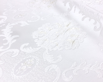 OFF WHITE JACQUARD FABRIC-SOLD BY THE METER