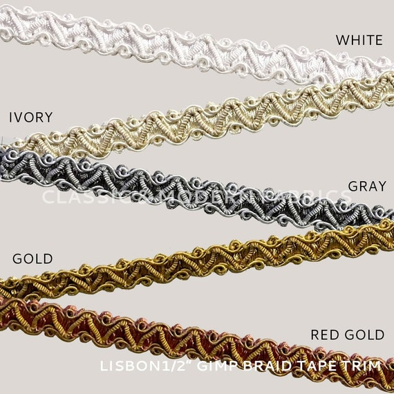 """Gold Antique Gold 1/"""" Gimp Braid Trim Rustic Gold By The Yard"""