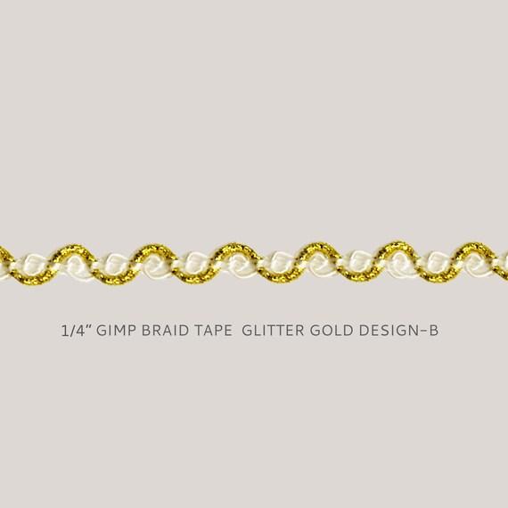"Gold Antique Gold 1//2/"" Gimp Braid Trim Rustic Gold 5 Yards"