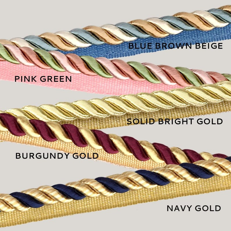 Cording  with lip  Upholstery Trim 5 YARDS  9 COLORS  38 Twisted Cord Home Decor Piping Pillows 9mm 3 ply Rope