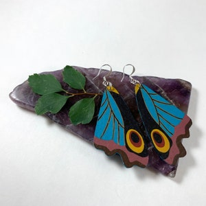 Life Like Hand-Painted Dangle  Earrings Repurposed Leather Leather Reddish Mauve Yellow Blue Curled Wing Tip Butterfly Earrings