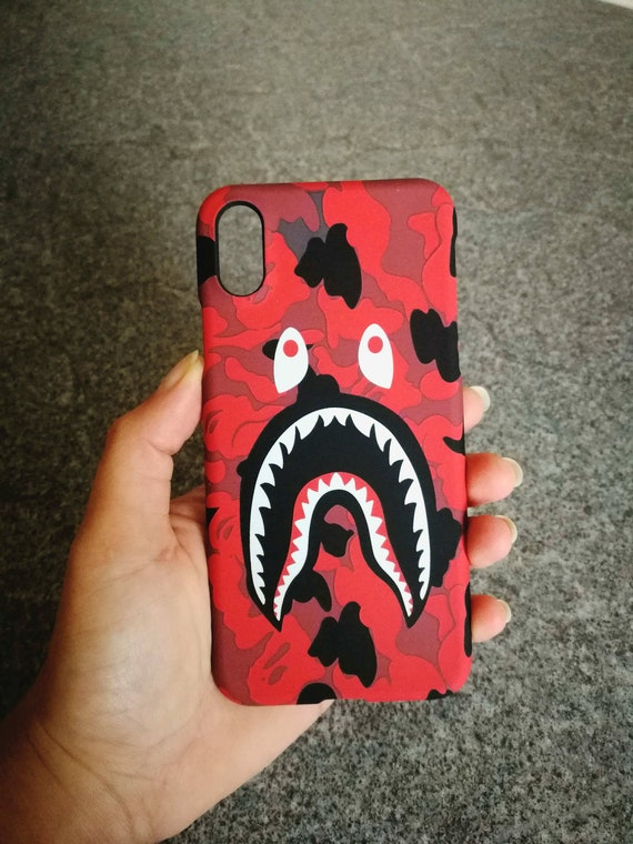 save off b466a 86e47 Red Bape Shark Mouth BATHING APE Phone Case | iPhone 6 6s 7 7+ 8 8+ X free  shipping