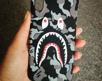 Grey Bape Shark Mouth BATHING APE Phone Case | iPhone 6 6s 7 7+ 8 8+ X free shipping