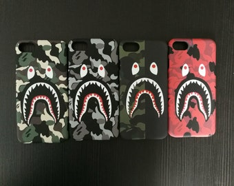 Red Camo Green Grey Bape Shark Mouth BATHING APE Phone Case | iPhone 6 6s 7 7+ 8 8+ X free shipping
