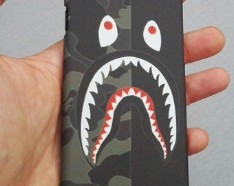 Black/Camo Bape Shark Mouth BATHING APE Phone Case | iPhone 6 6s 7 7+ 8 8+ X free shipping