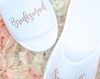 Personalized Wedding Slippers   Bridal Party Slippers   Bridesmaid Gifts    Rose Gold Slippers   Spa Slippers   Custom Slippers   Bridal Part f95c9e361a65